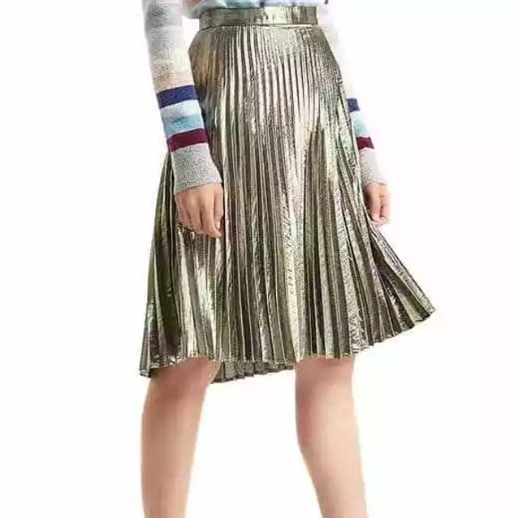 Gap pleated gold metallic skirt with side zipper